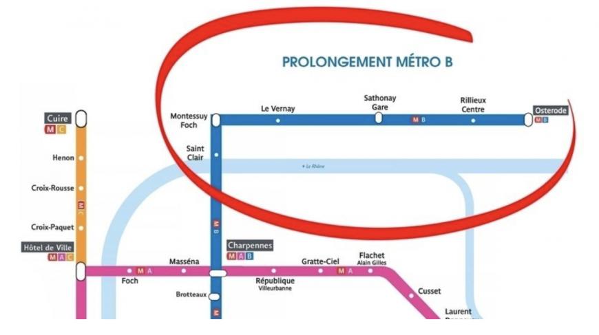 News : Une pétition pour prolonger la ligne de métro B jusqu'à Caluire, Rillieux et Sathonay