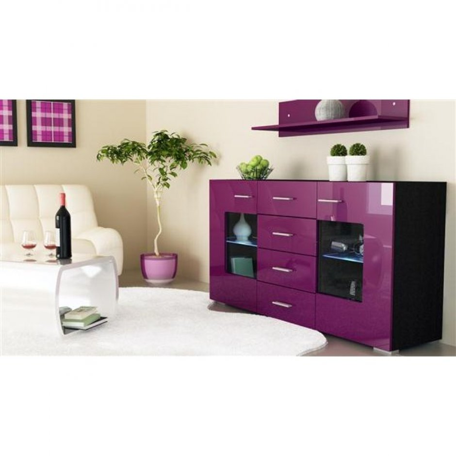bahut design laqu noir et violet lyon femmes. Black Bedroom Furniture Sets. Home Design Ideas